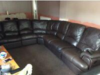 Chocolate leather corner suite
