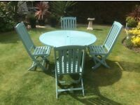 Wooden Patio Table and 4 Chairs in Duck Egg