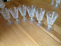 Set of 6 cut glass/crystal small wine glasses. Perfect condition