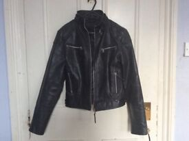 Black real leather biker jacket