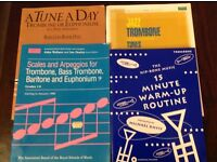 Four Trombone music books for the beginner