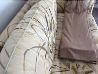 Curtains Villanova fabric with bump lining and regular lining 7' drop 2 widths in each curtain