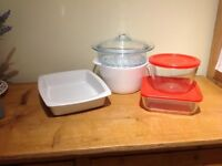 Large Casserole dish with Steamer, brand new. Lasagne Dish and 2 Pyrex glass storage containers