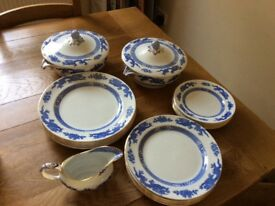 Cauldon vintage blue dragon china