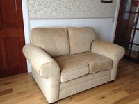 Two 2 seater sofas in beige chenille, as new (never been sat on)