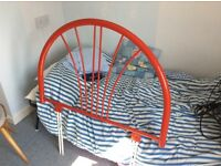 Divan Headboard in Red Steel frame in Excellent Condition