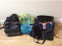 Ten handbags, some made of leather, one suede. Blue bag has a matching pair of flip flops size five.