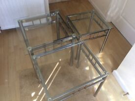3 glass tables with silver frames