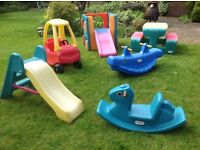 6 Little Tikes Outddor Toys: picnic table,slide,car,activity gym, seesaw, rocking horse. All £100!