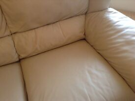 2 seater cream leather suite and chair