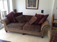 Alexander and James 'hudson' brown leather and upholstered sofa with cushions