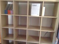 IKEA EXPEDIT cube shelf, 149cm square, 16 shelves, oak effect