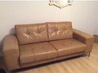 Modern Italian leather sofa (tan)