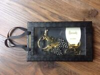 Harrods Black Bows Bag Charm with Lobster clasp & Keyring- Gift Boxed
