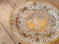 Early Deruta Maiolica Pottery, mid 17th century oval plate signs of repair, Cupid with bow and arrow
