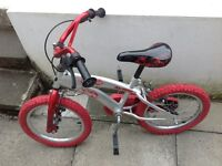 BOYS 16 INCH BIKE AND SPIDER-MAN HELMET