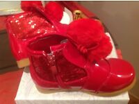 Red child boots size 8