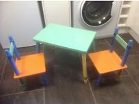 Fun table and chairs for small kids about 9m to 3 years. Legs look like crayons. Used and enjoyed