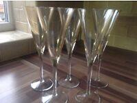 Fine glass champagne flutes