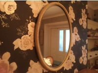 Large oval antique mirror ornate mounded frame painted cream