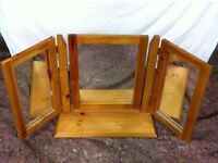 £30 Triple Mirror - pine, antique finish