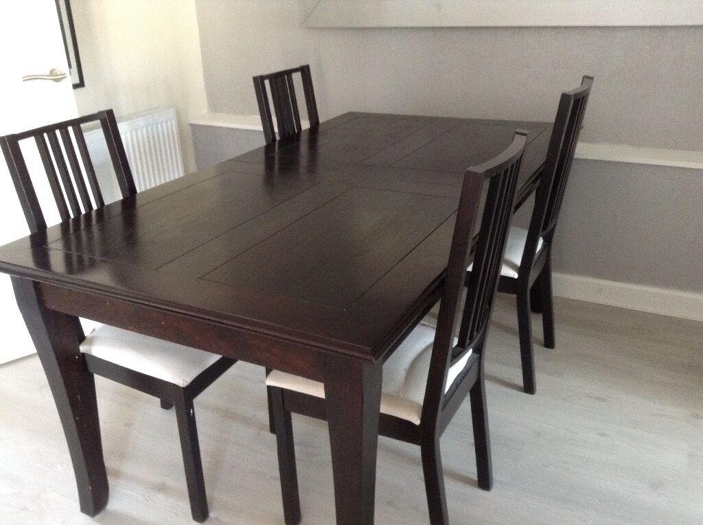 M S Dark Mango Wood Dining Table