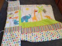 Animal cot quilt & bumper set