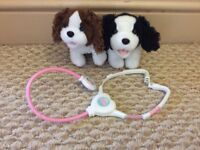 Animatics toy interactive puppies with stethoscope