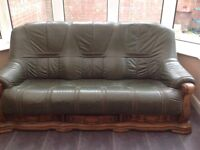Green and wooden frame leather sofa