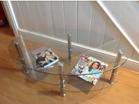 Coffee table glass oval tiered