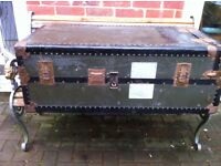 Old Langmuir four ply travel chest...great stage prop or coffee table repurpose..