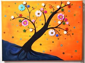 Beautiful Button art flower blossoms canvas acrylic painting *Handcrafted* direct from artist