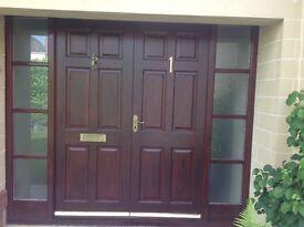 External hard wood French doors
