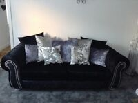 3 seater sofa, swivel chair and foot stool