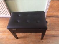 BRAND NEW IN BOX BLACK ADJUSTABLE PIANO SEAT WITH STORAGE