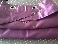 Purple faux silk eyelet curtains full-length