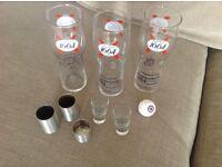 Box unopened 25 plastic wine glasses, pack 30 shot glasses, 3 lager glasses and 2 shot glasses