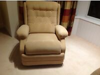 Reclining arm chair - yellow, used condition