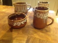 Honiton coffee mugs cream jug and sugar bowl