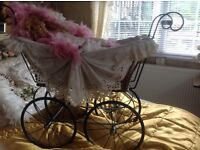 Old fashioned reproduction dolls Pram and doll