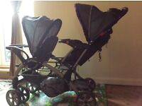 Twins Double Stroller Pushchair Baby Twin Pram Seat Newborn Toddler Buggy Tandem