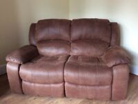 Harvey's faux suede 2 and 3 seat reclining sofas