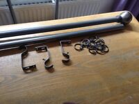 Curtain pole in dark grey with brackets and hooks