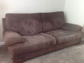 Italian suede 3 seater sofa and chair - very good condition