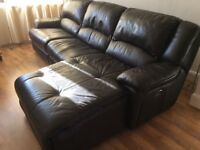 Leather reclining corner sofa, electric recliner