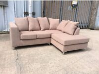 Brand New! Brown Beige Cream Fabric Corner Sofa - £275 Including Free Local Delivery