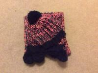 M&S girls chunky knit bobble hat and scarf age 6-10 years