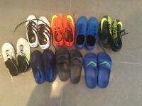 Excellent condition 8 pairs of trainers football boots and water shoes