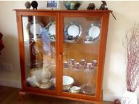 Yew glass fronted display cabinet