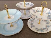 3 Mini Two Tier Cake/Sweet/Biscuit Stands. Shades of Blue Bone China.